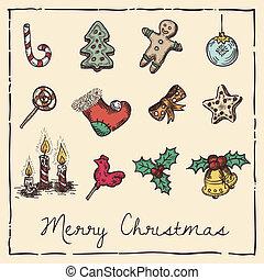 kerstmis, retro, kaart, uitnodiging