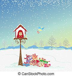 kerstmis, robin, groet, vogels