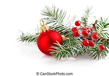 kerstmis, rode bal, met, tak, firtree, in, sneeuw
