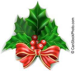 kerstmis, rode boog, en, hulst bessen