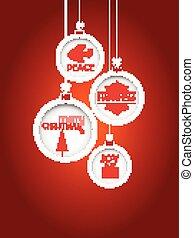 kerstmis, rood, baubles, achtergrond, hangend