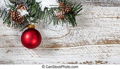 kerstmis, rood, ornament, hangend, van, besneeuwd, ruige , pijnboom, tak