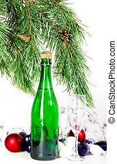 kerstmis, samenstelling, met, champagne
