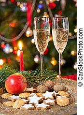 kerstmis, samenstelling, met, champagne.