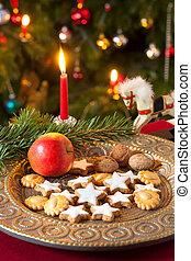 kerstmis, samenstelling, met, decorations.