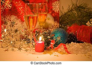 kerstmis, samenstelling, met, kaarsje