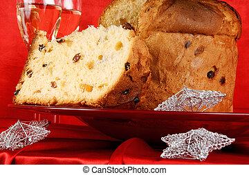 kerstmis, samenstelling, met, panettone