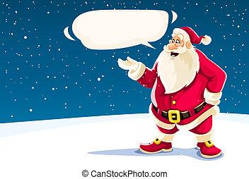 kerstmis, santa claus, het spreken, met, boodschap, cloud.