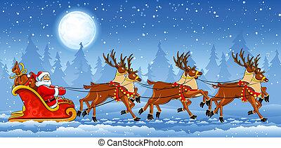 kerstmis, santa claus, paardrijden, op, arreslee