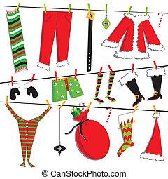 kerstmis, santa, clothesline