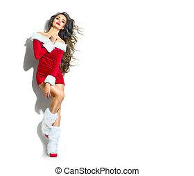 kerstmis, scene., sexy, santa., beauty, model, meisje, vervelend, rood, feestje, kostuum