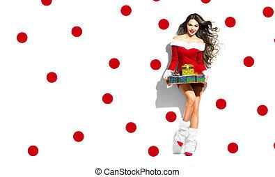 kerstmis, scene., sexy, santa., beauty, model, meisje, vervelend, rood, feestje, kostuum, vasthouden, kadootjes