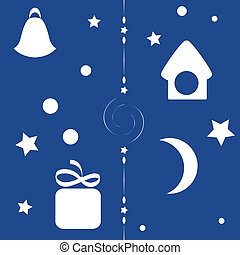kerstmis, seamless, achtergrond, nacht