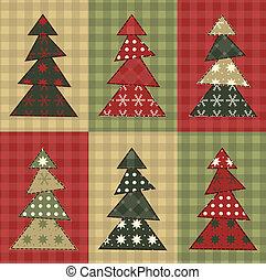 kerstmis, set, 7, boompje