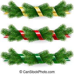 kerstmis, set, garlands
