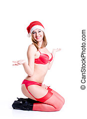 kerstmis, sexy, vrouw