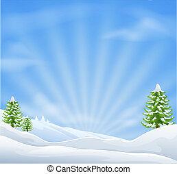 kerstmis, sneeuwlandschap, achtergrond