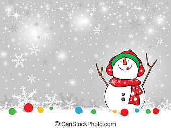 kerstmis, sneeuwpop, backgr, ontwerp