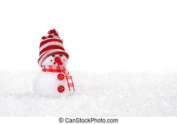 kerstmis, sneeuwpop, met, copyspace