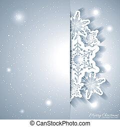kerstmis, sneeuwvlok, begroetende kaart