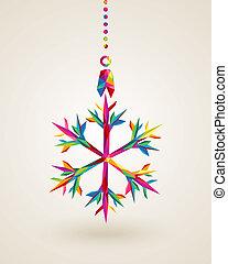 kerstmis, sneeuwvlok, multicolors, vrolijk, hangend, bauble