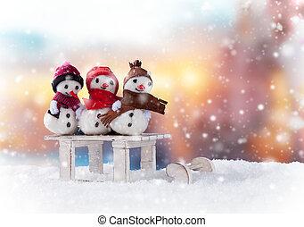kerstmis, snowmen, op, slede