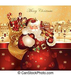 kerstmis, spandoek, claus, kerstman