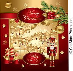 kerstmis, spandoek, met, notekraker