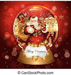 kerstmis, spandoek, met, santa claus