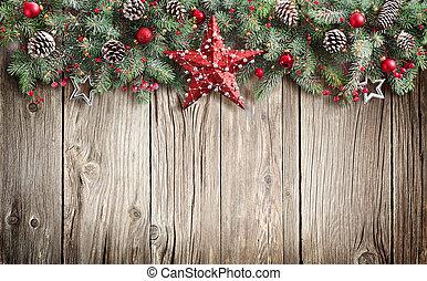kerstmis, spar, verfraaide, boompje