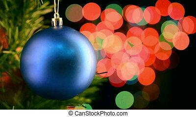 kerstmis, speelbal, op, de, achtergrond, van, opvlammende...