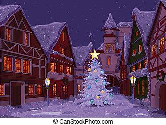 kerstmis, stad, nacht