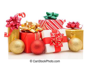 kerstmis stelt voor, en, versieringen, op wit