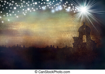 kerstmis, ster, begroetende kaart, kerk