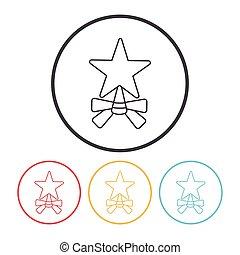 kerstmis, ster, lijn, pictogram
