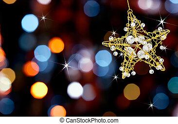 kerstmis, ster, met, lichten