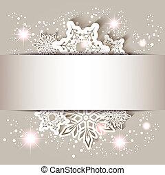 kerstmis, ster, sneeuwvlok, begroetende kaart