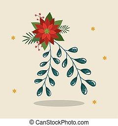 kerstmis, sterretjes, bloem, decoratief