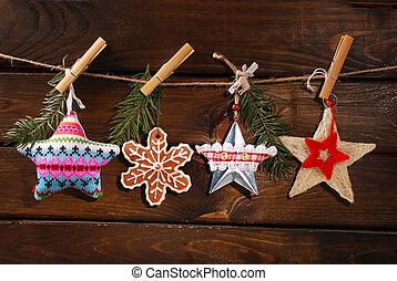 kerstmis, sterretjes, verzameling, hangend, twijn
