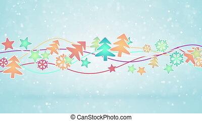 kerstmis, symbolen, loopable, vakantie, achtergrond