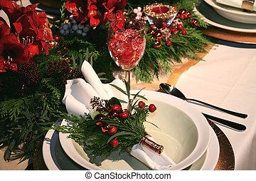 kerstmis, tafel, deco