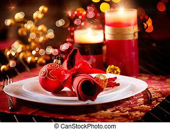 kerstmis, tafel, setting., vakantie decoraties