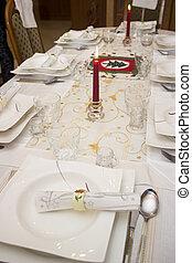 kerstmis, tafel te zetten