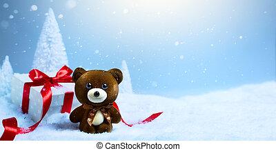 kerstmis, tree;, feestdagen, versiering, en, giftdoos, op, sneeuw