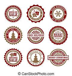 kerstmis, &, tweede kerstdag, detailhandel, badge