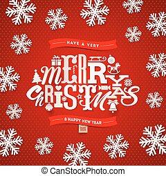 kerstmis, type, ontwerp, -, vector, illustratie
