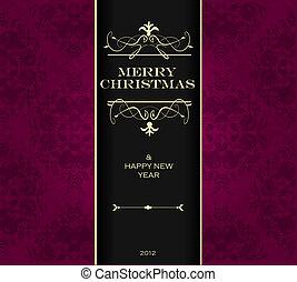kerstmis, uitnodiging, card.