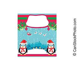 kerstmis vakantie, achtergrond, met, santa claus, en, schattig, pinquins