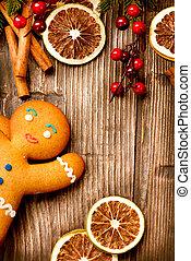kerstmis vakantie, achtergrond., peperkoekmannetje, op, hout