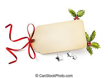 kerstmis vakantie, composition;, kerstmis, begroetende kaart, en, feestdagen, ornament